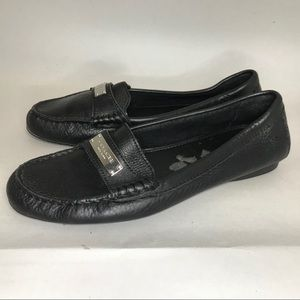 Coach Frederica Black Loafers Leather Driving 7.5
